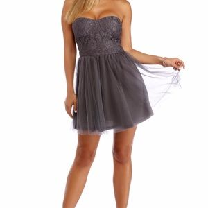 Windsor Heather Charcoal Strapless Lace Dress XS